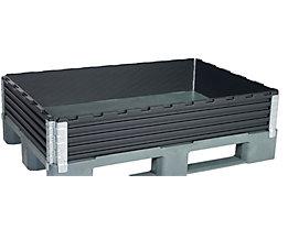 KIGA Kunststoffaufsatzrahmen, VE 2 Stk - für Euro-Palette 1200 x 800 mm - diagonal klappbar, mit 4 Scharnieren