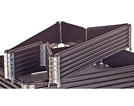 KIGA Kunststoffaufsatzrahmen, VE 2 Stk - für Euro-Palette 1200 x 800 mm - klappbar, mit 6 Scharnieren