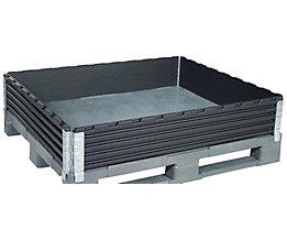Kunststoffaufsatzrahmen, VE 2 Stk - für Industriepalette 1200 x 1000 mm - diagonal klappbar, mit 4 Scharnieren