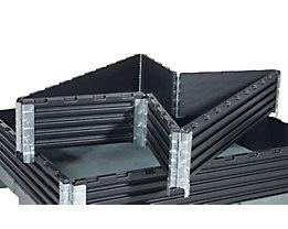 Kunststoffaufsatzrahmen, VE 2 Stk - für Industriepalette 1200 x 1000 mm - klappbar, mit 6 Scharnieren