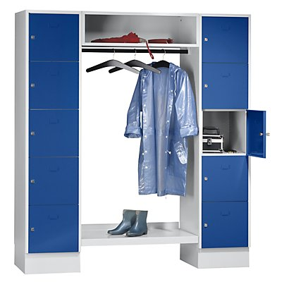 Wolf Schließfachgarderoben-System - 10 Abteile außen, 10 Kleiderbügel