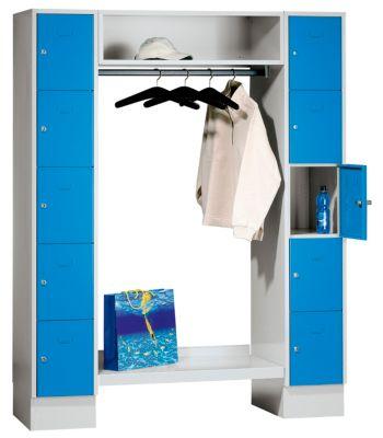 Schließfachgarderoben-System - 10 Abteile außen, 10 Kleiderbügel