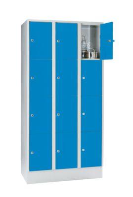 Stahlspind - mit Bodensockel, 12 Abteile, 300 mm lichtgrau /
