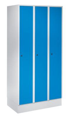 Wolf Schließfachschrank mit Sockel - HxBxT 1850 x 900 x 500 mm, 3 Fächer