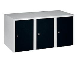 Wolf Aufsatzschrank - 3 Abteile, HxBxT 445 x 900 x 500 mm - tiefschwarz