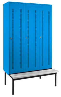 Wolf Kleiderspind mit untergebauter Bank - Lochblech-Türen, Abteilbreite 400 mm, 3 Abteile