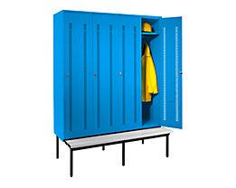 Wolf Kleiderspind mit untergebauter Bank - Lochblech-Türen, Abteilbreite 400 mm, 4 Abteile - lichtblau