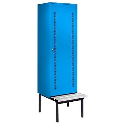 Wolf Kleiderspind mit untergebauter Bank - Lochblech-Türen, Abteilbreite 600 mm, 1 Abteil