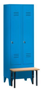 Kleiderspind mit vorgebauter Bank - Vollwand-Türen, Abteilbreite
