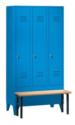 Wolf Kleiderspind mit vorgebauter Bank - Vollwand-Türen, Abteilbreite 300 mm, 3 Abteile