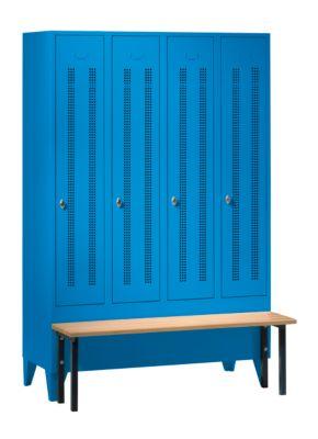 Wolf Kleiderspind mit vorgebauter Bank - Lochblech-Türen, Abteilbreite 300 mm, 4 Abteile