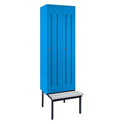 Wolf Kleiderspind mit untergebauter Bank - Lochblech-Türen, Abteilbreite 300 mm, 2 Abteile - blaugrau