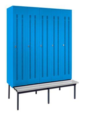 Kleiderspind mit untergebauter Bank - Lochblech-Türen,