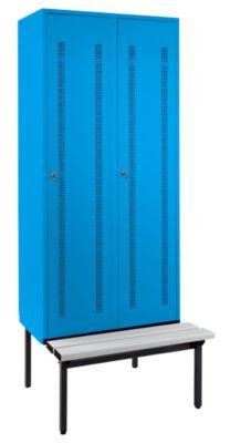 Wolf Kleiderspind mit untergebauter Bank - Lochblech-Türen, Abteilbreite 400 mm, 2 Abteile