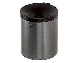 Sicherheits-Wandascher, 6 l Fassungsvermögen - Höhe 250 mm, Ø 180 mm - Stahlblech pulverbeschichtet, graphit