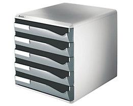 Leitz Ablagebox - Post- und Formular-Set, Gehäusefarbe grau - Schubladenfarbe dunkelgrau, 5 Schubladen