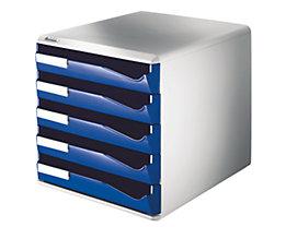 Leitz Ablagebox - Post- und Formular-Set, Gehäusefarbe grau - Schubladenfarbe blau, 5 Schubladen