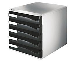 Leitz Ablagebox - Post- und Formular-Set, Gehäusefarbe grau - Schubladenfarbe schwarz, 5 Schubladen