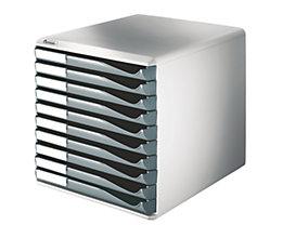 Leitz Ablagebox - Post- und Formular-Set, Gehäusefarbe grau - Schubladenfarbe dunkelgrau, 10 Schubladen