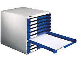 Leitz Ablagebox - Post- und Formular-Set, Gehäusefarbe grau - Schubladenfarbe blau, 10 Schubladen