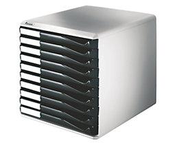 Leitz Ablagebox - Post- und Formular-Set, Gehäusefarbe grau - Schubladenfarbe schwarz, 10 Schubladen