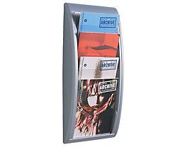 Wandprospekthalter A4 - 4 Fächer für Format DIN A4 - alusilber, VE 2 Stk