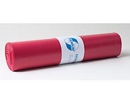 Sacs plastique - capacité 120 l, l x h 700 x 1100 mm - épaisseur 37 µm, rouge, lot de 250