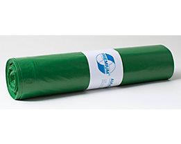 Sacs plastique - capacité 120 l, l x h 700 x 1100 mm - épaisseur 37 µm, vert, lot de 250