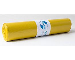Sacs plastique - capacité 120 l, l x h 700 x 1100 mm - épaisseur 37 µm, jaune, lot de 250