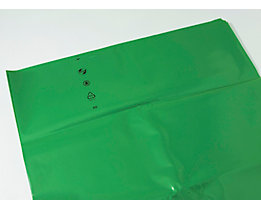 Sacs-poubelle en polyéthylène - capacité 120 l - L x l x h 700 x 200 x 1200 mm, vert, lot de 200