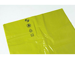 Sacs-poubelle en polyéthylène - capacité 120 l - L x l x h 700 x 200 x 1200 mm, jaune, lot de 200
