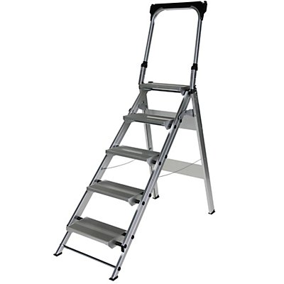Günzburger Steigtechnik Alu-Klapptreppe - 5 Stufen - mit Sicherheitsbügel