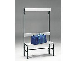 Umkleidebank aus Stahl für Feuchträume - HxT 1600 x 335 mm - L 1015 mm, ohne Schuhrost, Hakenleiste mit 3 Haken