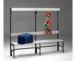 Umkleidebank aus Stahl für Feuchträume - HxT 1600 x 335 mm - L 1500 mm, ohne Schuhrost, Hakenleiste mit 6 Haken