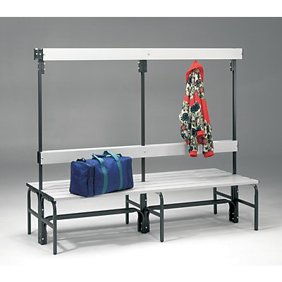 Sypro Umkleidebank aus Stahl für Feuchträume - HxT 1600 x 695 mm