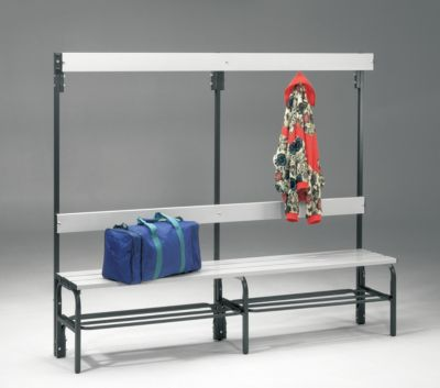 Umkleidebank aus Stahl für Feuchträume - HxT 1600 x 335 mm