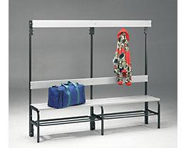 Umkleidebank aus Stahl für Feuchträume - HxT 1600 x 335 mm - L 2000 mm, mit Schuhrost, Hakenleiste mit 6 Haken