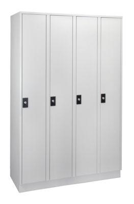 Wolf Garderobenschrank, Fachhöhe 1700 mm - 4 Abteile à 300 mm Breite
