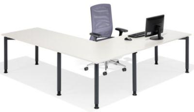 office akktiv CARINA Verkettung - 90° mit Stützfuß, für Schreibtisch mit Rundrohrbeinen