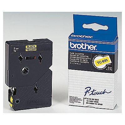 P-touch Schriftbandkassette TC691 9mmx7,7m laminiert sw auf ge
