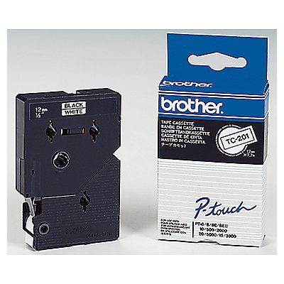 P-touch Schriftbandkassette TC201 12mmx7,7m laminiert sw auf ws