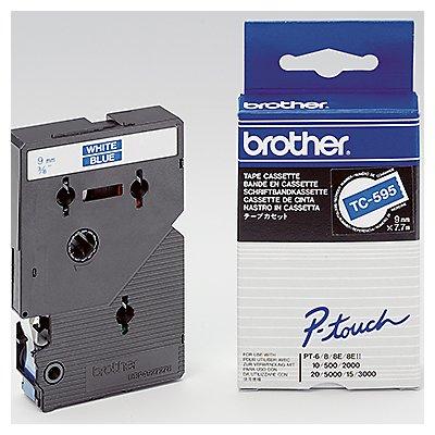 P-touch Schriftbandkassette TC595 9mmx7,7m laminiert ws auf bl