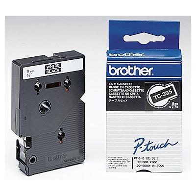 P-touch Schriftbandkassette TC395 9mmx7,7m laminiert ws auf sw