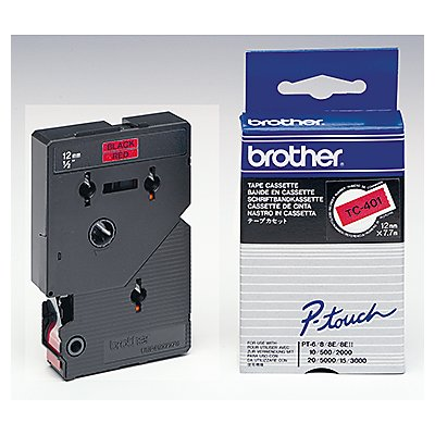 P-touch Schriftbandkassette TC401 12mmx7,7m laminiert sw auf rt