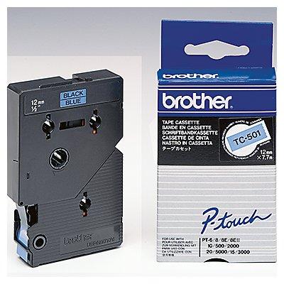 P-touch Schriftbandkassette TC501 12mmx7,7m laminiert sw auf bl
