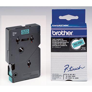 P-touch Schriftbandkassette TC701 12mmx7,7m laminiert sw auf gn