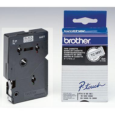 P-touch Schriftbandkassette TCM91 9mmx7,7m laminiert sw auf fl