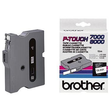P-touch Schriftbandkassette TX231 12mmx15,4m laminiert sw auf ws