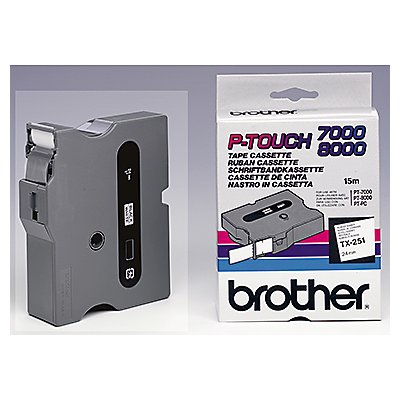 P-touch Schriftbandkassette TX251 24mmx15,4m laminiert sw auf ws