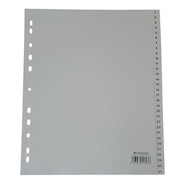 Soennecken Register 2135 DIN A4 1-31 volle Höhe Überbreite PP grau